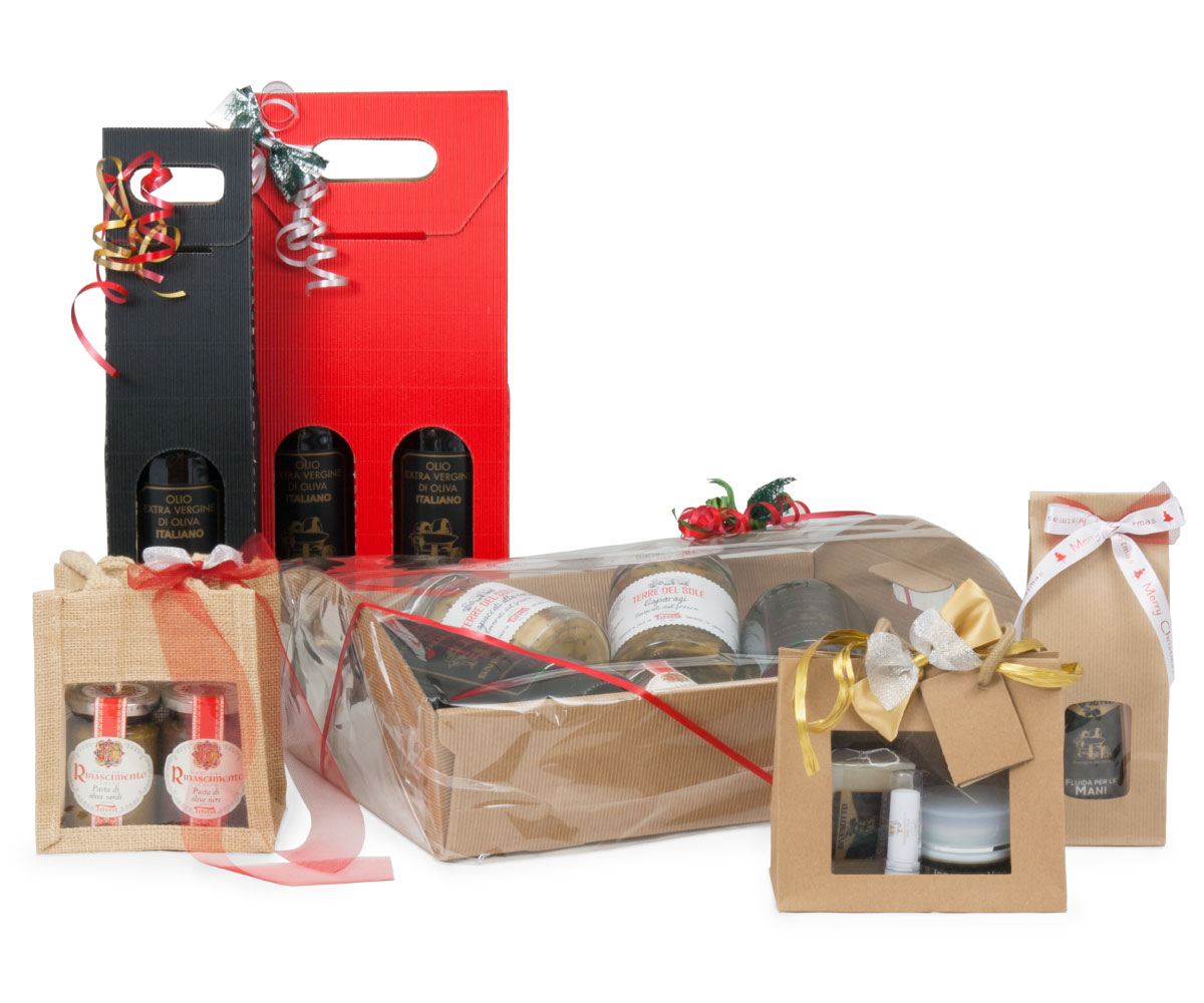 Gift packages with Gnesotto extra virgin olive oil, creams and much more